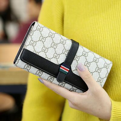 2018新款欧美时尚钱包女长款搭扣大容量个性手机钱夹皮夹手拿包潮