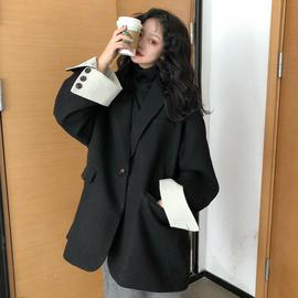 毛呢西装外套女中长款春秋2019新款韩版学生宽松百搭森系呢子大衣图片