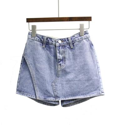 2018韩国东大门夏季新款女装韩版假两件牛仔短裙裤女半身裙热裤潮