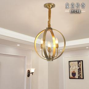 美式吊灯全铜过道玄关楼梯间单吊灯餐厅蜡烛铜灯圆圈简欧古典灯具