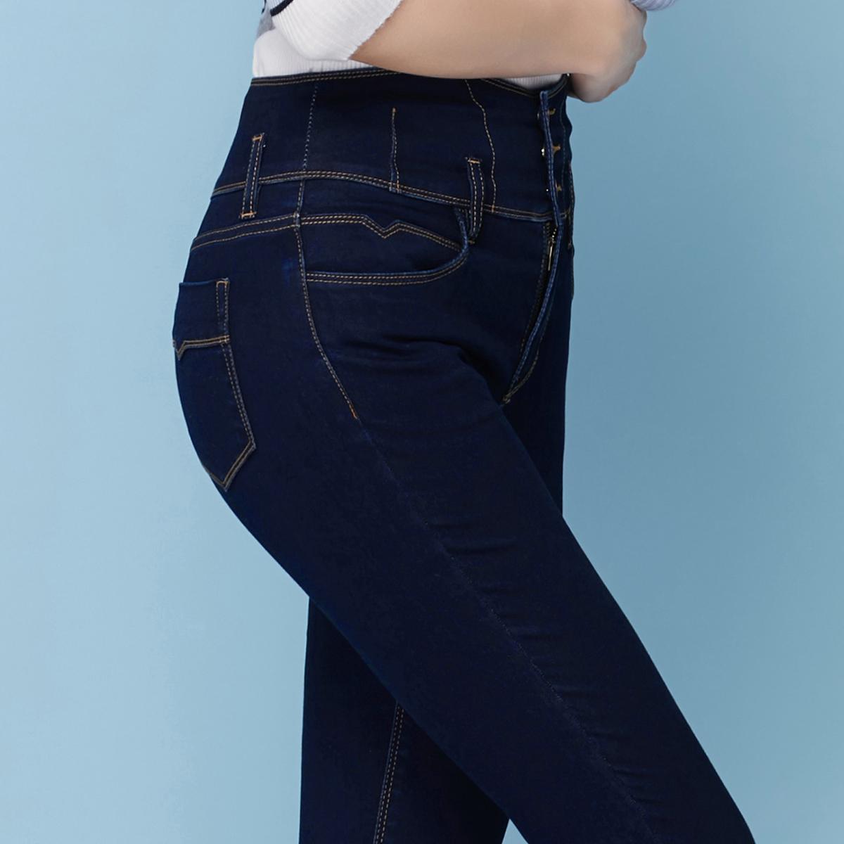 高腰加绒牛仔裤直筒小脚显瘦1元优惠券