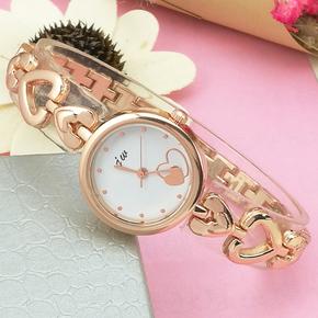 韩版手链条可爱女生爱心形手表学生时尚潮流防水女孩儿童石英表款
