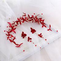 新娘红色头饰手工头花中式盘发发饰结婚礼服敬酒服花朵四叶草发箍