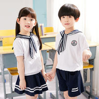Kindergarten clothing primary and secondary school boys and girls naval wind school uniform short-sleeved suit summer cotton children's costumes