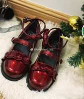 Low-heeled patent leather wine red patent leather black plum Lulu sheep puff Lolita original lace shoes