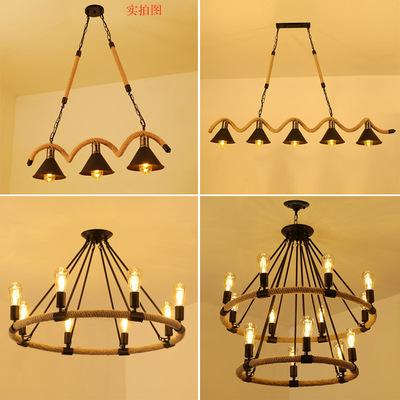 美式吧台麻绳吊灯