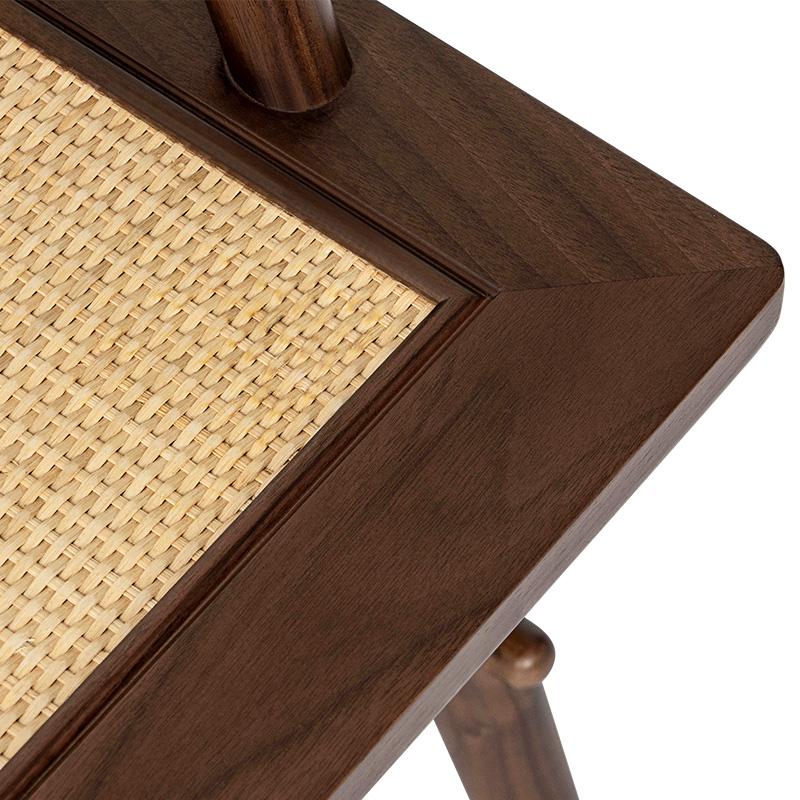 有清堂新中式茶椅禅意北美黑胡桃实木藤面客人办公单人休闲书椅子