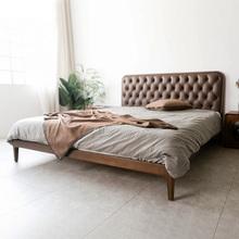 有清堂新中式实木床现代简约成人主卧真皮胡桃木1.5米1.8米双人床