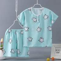 Artificial cotton baby clothes summer children's cotton silk pajamas 2 thin section 3 short sleeves 4 boys and girls cotton silk set 1-6 years old