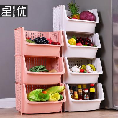 星优加厚蔬菜收纳筐塑料特大号家用厨房置物架落地多层3层收纳架