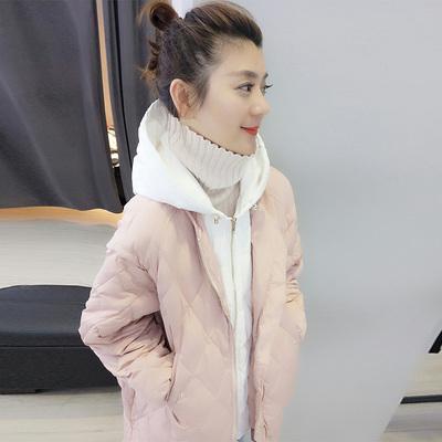 欧洲站2017冬装欧货潮新款韩版减龄中长款连帽菱格假两件羽绒服女