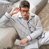 长袖 秋鹿冬季新款 加厚夹棉睡衣两件套长裤 翻领男士 保暖纯棉家居服
