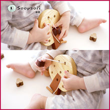 Soopsori beads string around beads, Korean toys, children's Wooden Baby strings, puzzle gift.