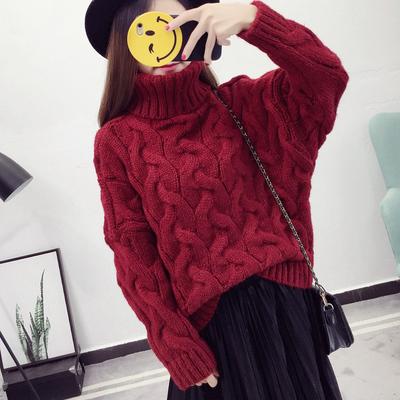 秋冬新款韩版短款套头加厚高领毛衣女粗线麻花学生打底针织衫外套