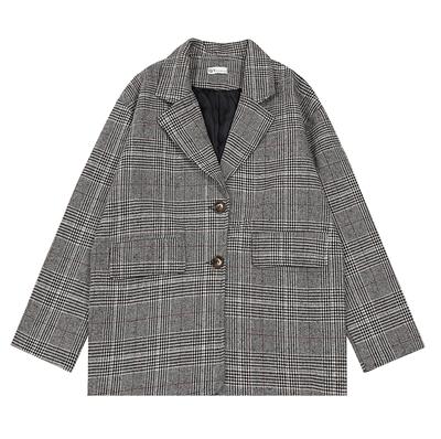 2018秋冬新款韩版基础小时髦西装复古撞色长袖宽松百搭格子外套女
