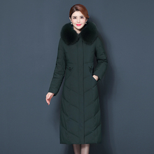 Winter Dress New Red Bean Down Dress Women's Super-long Over-knee Thickening Large-Size Fox Fur Collar Slim Women's Fashion