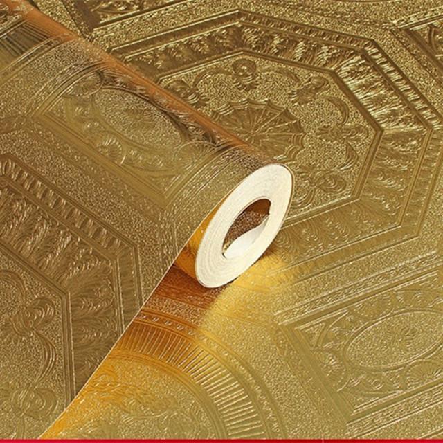 中式3D立体天花板素色金箔纸 纯色银箔壁纸KTV酒店吊顶金色墙纸