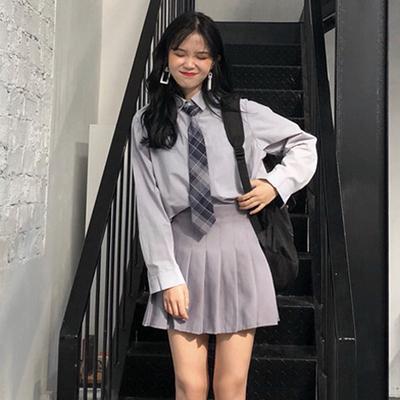 韩版时尚休闲套装夏季长袖翻领衬衫+高腰百褶半身裙短裙两件套女