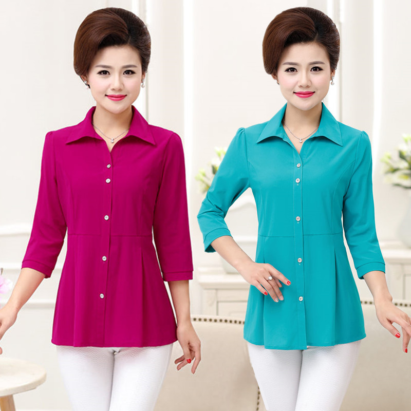 Mother loaded spring and summer new sleeve shirt middle-aged women's solid color cardigan middle-aged ladies