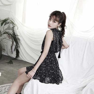 MUCHA 原创设计 夏季优雅气质雪纺法式连衣裙短裙吊带两件套女装