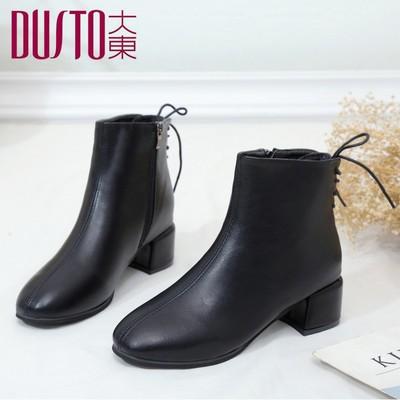 大东女靴2018新款加绒粗跟短靴女韩版百搭女鞋真皮短筒靴子马丁靴