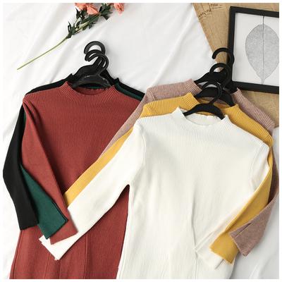 秋季新款女装韩版纯色修身显瘦打底衫圆领针织九分袖上衣HYF