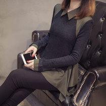 胖MM显瘦假两件上衣加大码女装中长款韩版长袖针织雪纺T恤打底衫