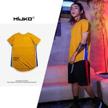 2019年夏季新品 高街条杠学院风前短后长圆弧下摆男式T恤 MIJKO男装