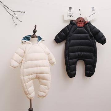 新生儿衣服秋冬季外出服0-3-6个月女宝宝冬装初生婴儿连体衣爬服