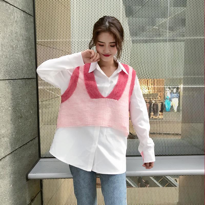 chic早秋套装女2018新款韩版V领针织马甲背心+宽松学院风长袖衬衫