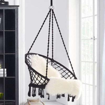 INS家居北欧风手工棉绳编织黑色秋千吊椅吊篮客厅阳台儿童房装饰