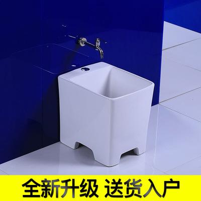 高脚洗拖把池拖布池阳台墩布池落地式陶瓷卫生间拖把槽小地盆家用