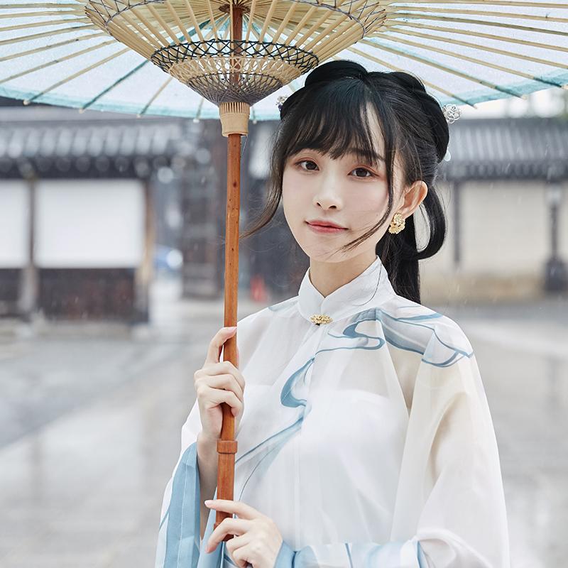 【十三余 小豆蔻儿】[天欲雪] 竖领斜襟大袖纱衫一片式百迭裙汉服