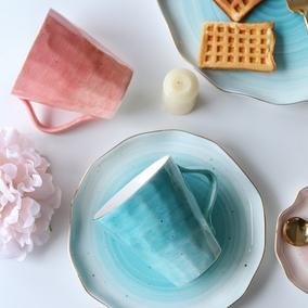 舍里 彩色金边不规则系列陶瓷马克杯男女水杯牛奶杯茶杯咖啡杯子