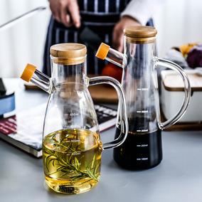 舍里 高硼硅防漏带盖带刻度玻璃油壶调味瓶酱油瓶子香油瓶醋壶