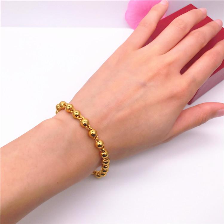 越南沙金手链情侣 欧币镀金饰品 男女实心光面圆珠假黄金手链1元优惠券