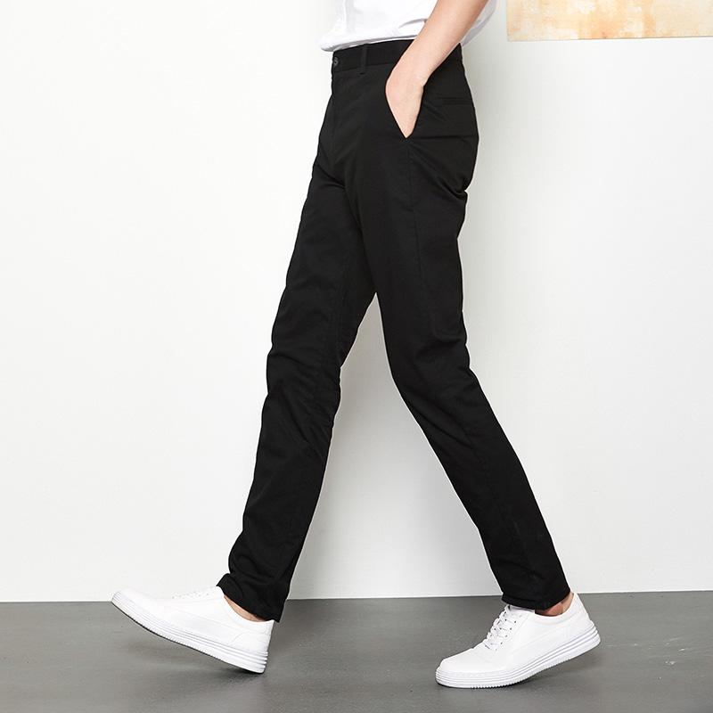 保罗男裤子休闲裤夏季薄款男士修身直筒纯棉男生小脚卡其色长裤