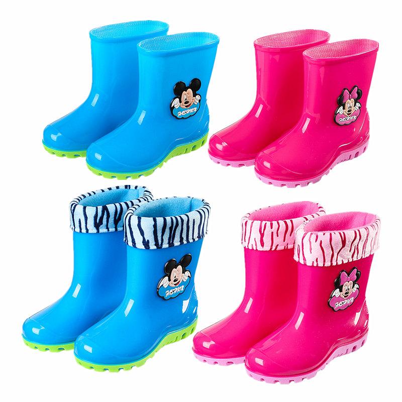 男童防滑女童加绒中筒水鞋 宝宝套鞋 大小学生胶鞋 米奇儿童雨靴雨鞋