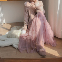 Winter skirt two sets of star sequins screen half-length skirt autumn and winter women's mid-long fairy skirt long skirt yarn skirt