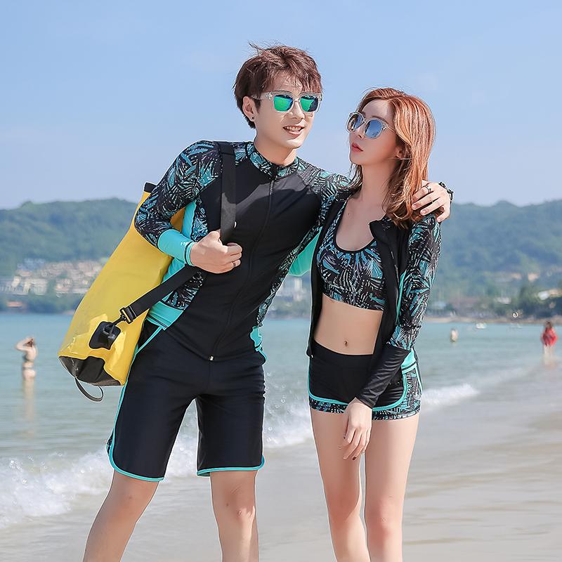 新款情侣分体浮潜服长袖男女海边防晒泳衣套装速干夏潜水服冲浪服