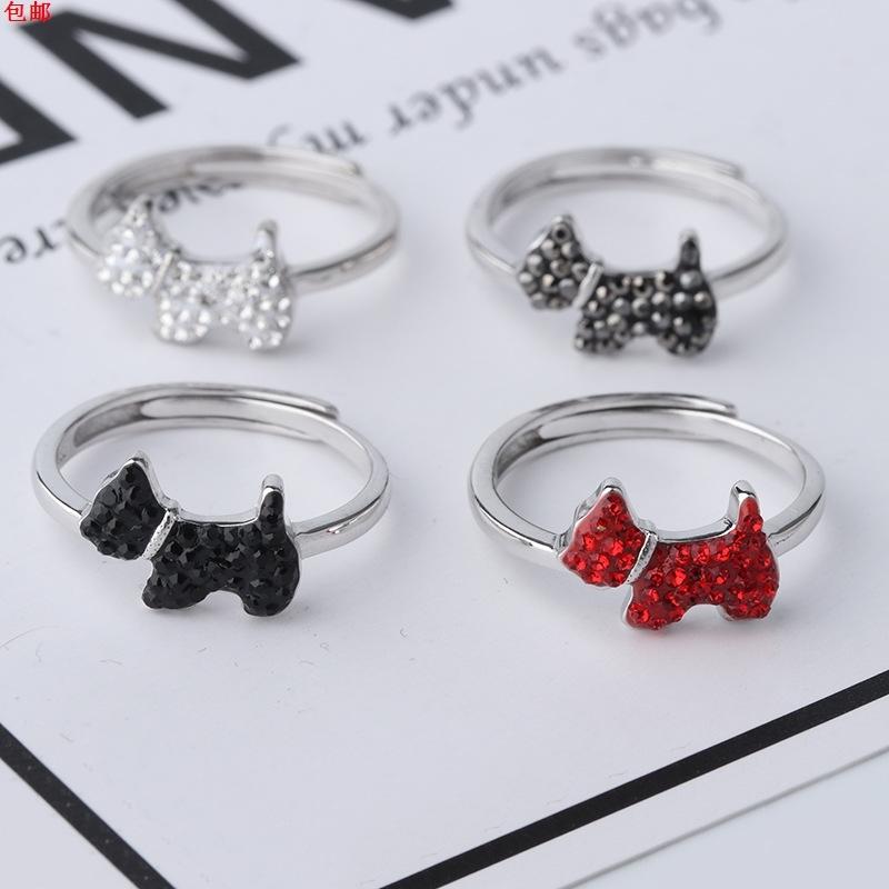 S925纯银红色小狗戒指女韩版镶钻满钻汪星人戒指 指环开口可调节
