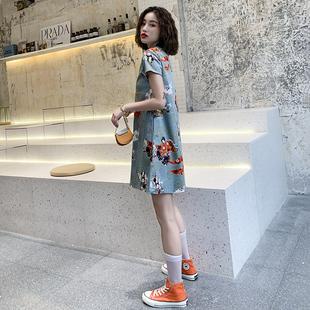 宽松旗袍2019夏款 少女中国风微胖连衣裙学生短款 时尚 改良版年轻款