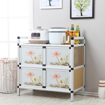 铝合金碗柜厨房家用经济型橱柜简易组装多功能储物柜带门钢化玻璃