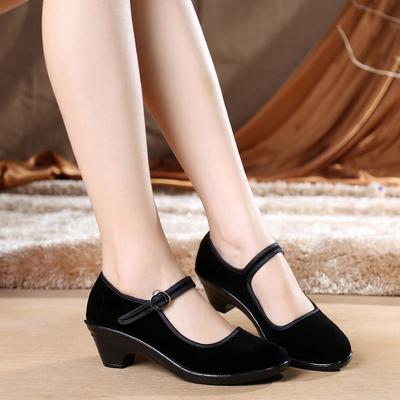 老北京黑色女士高跟拉带布鞋舞蹈鞋酒店工作鞋黑平绒浅口单鞋包邮