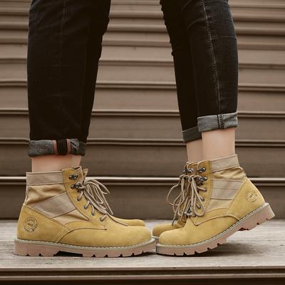 2018秋冬季牛皮英伦风马丁靴男靴子短靴潮流工装高帮鞋沙漠情侣靴