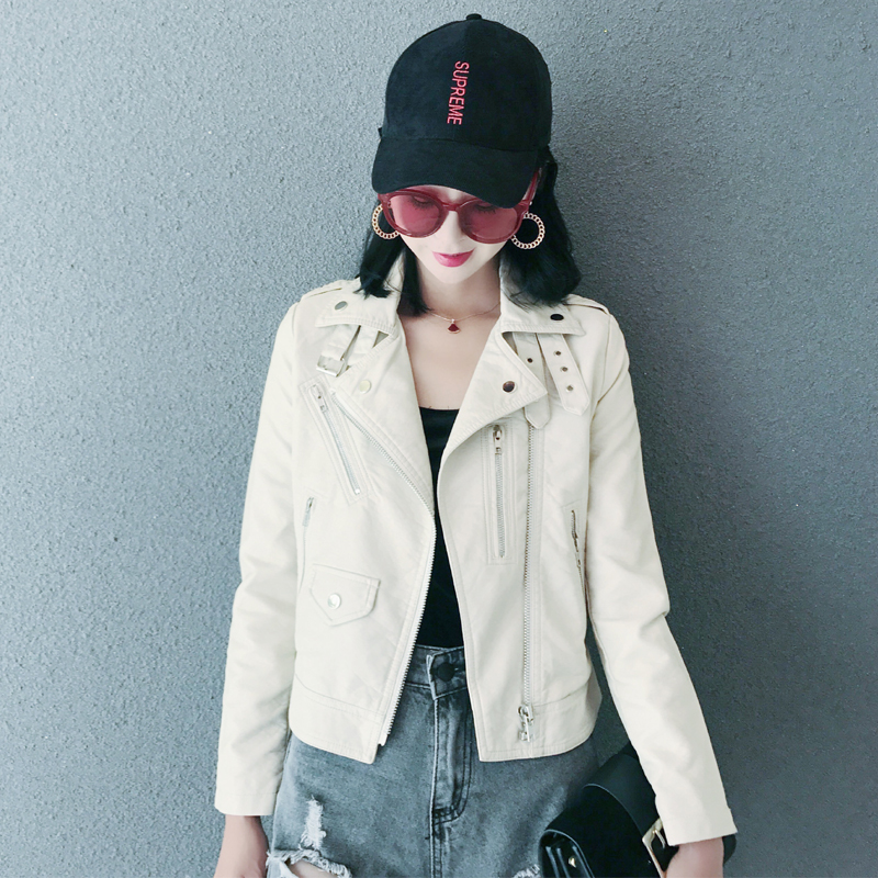 leather women's jacket spring and autumn new women's motorcycle short section Pu leather jacket was thin Korean