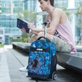 Uniker middle school student trolley bag girl large capacity travel backpack high school drag luggage bag male