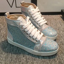 European Station 2019 New Couple High Upper Shoes, Water Diamond Sequins, Flat Bottom, Round Head Leisure Shoes for Students