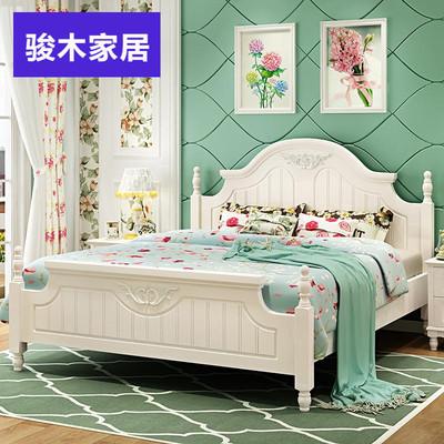 韩式田园床橡木公主床欧式双人床1.51.8米床实木卧室白色家具婚床特价