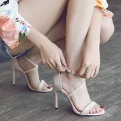 一字带凉鞋 仙女风细跟百搭露趾交叉绑带高跟鞋 女夏2019新款 韩版